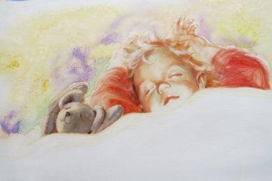 Illustration of sleeping child and bear