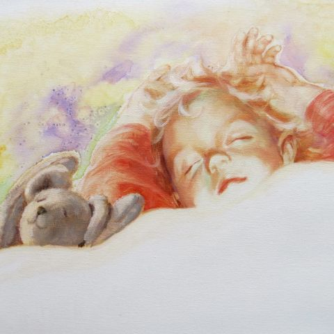 Illustration of sleeping child and bear