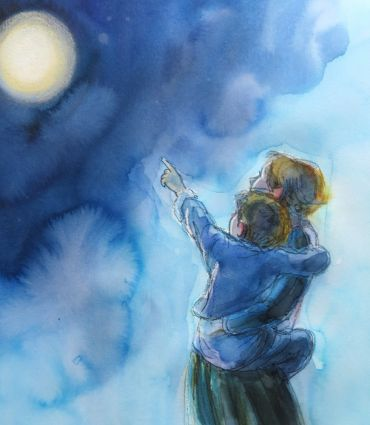 -985-harry-and-mum--from-the-moon-shines-out-of-the-dark--watercolour