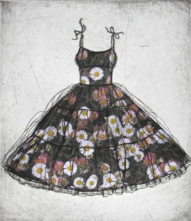 ˘7 . daisy,daisy . . .' etching with chine colle. 25 x 28cm