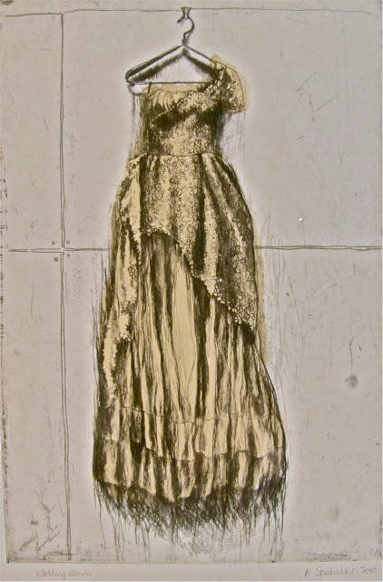 Wedding Gown etching of vintage dress by Anne Spudvilas