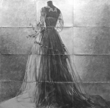 graphite drawing by Anne Spudvilas of vintage wedding dress