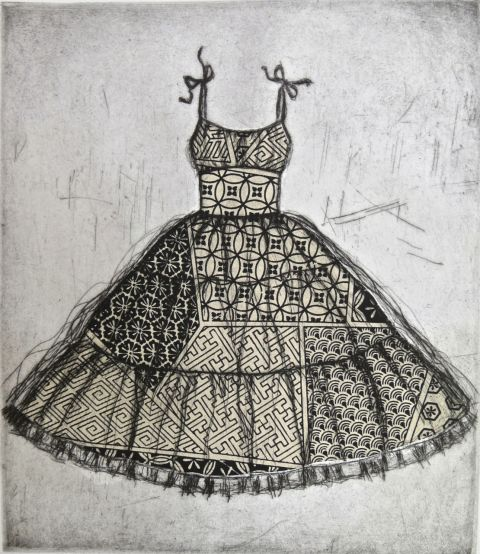 Etching of vintage dress