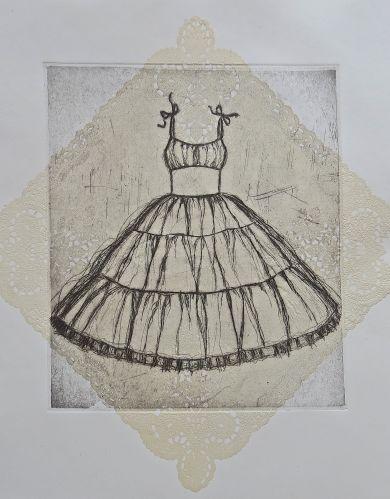 Etching of vintage dress